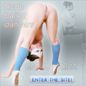 female naked pose with ballet shoes